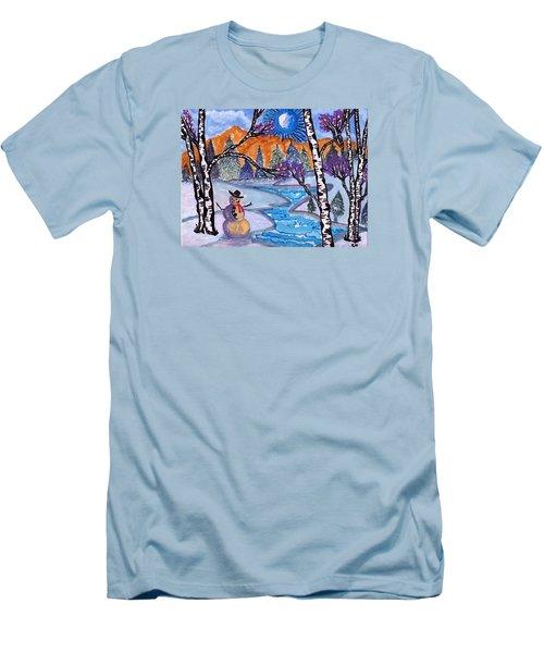 Happy Snowman Men's T-Shirt (Slim Fit) by Connie Valasco