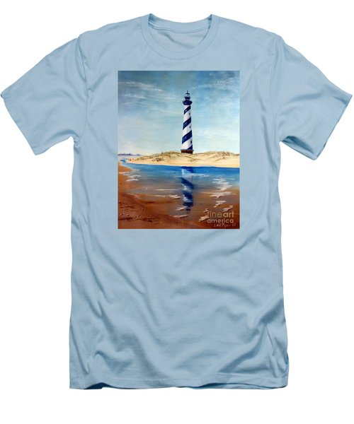 Hatteras Lighthouse Men's T-Shirt (Slim Fit) by Lee Piper