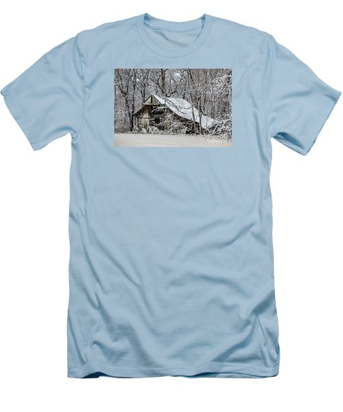 Men's T-Shirt (Slim Fit) featuring the photograph Hay Barn In Snow by Debbie Green