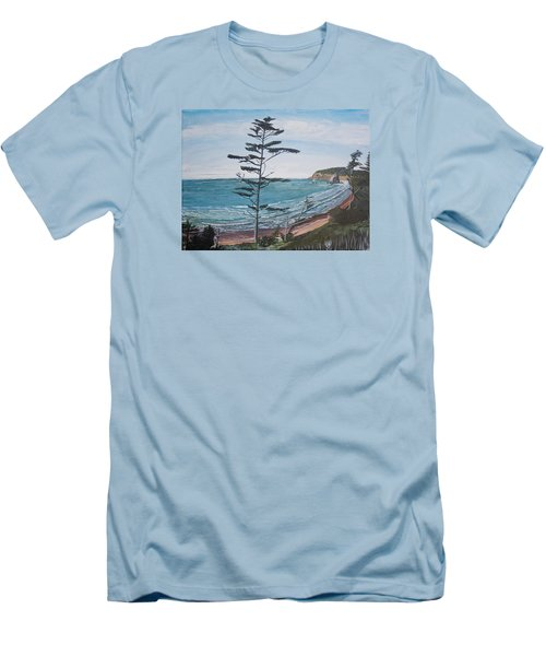 Men's T-Shirt (Slim Fit) featuring the painting Hay Stack Rock From The South On The Oregon Coast by Ian Donley