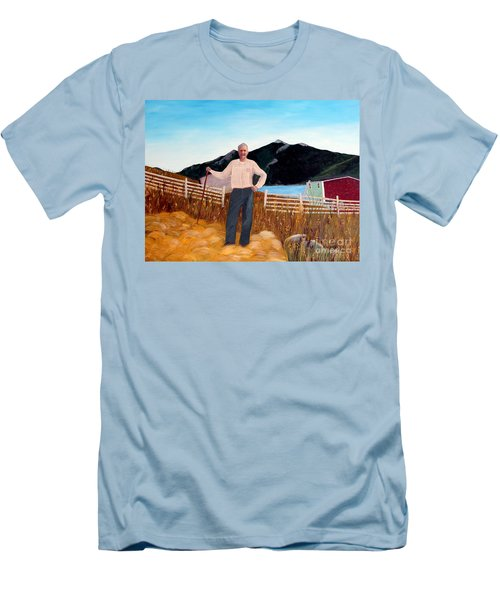 Haymaker With Pitchfork  Men's T-Shirt (Slim Fit) by Barbara Griffin