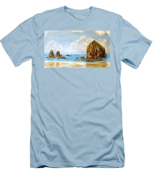 Men's T-Shirt (Slim Fit) featuring the relief Haystack Relief by Wendy McKennon