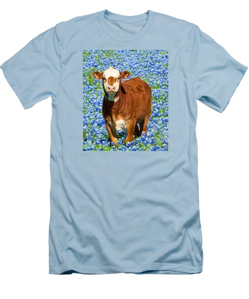 Men's T-Shirt (Slim Fit) featuring the photograph Heres Looking At You Kid - Calf With Bluebonnets In Texas by David Perry Lawrence