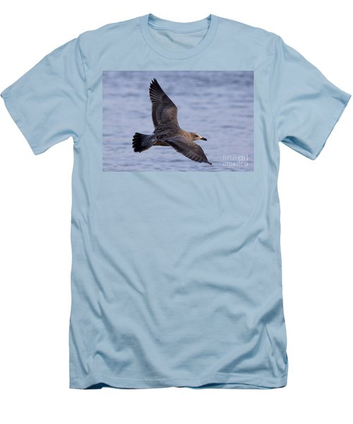 Men's T-Shirt (Slim Fit) featuring the photograph Herring Gull In Flight Photo by Meg Rousher