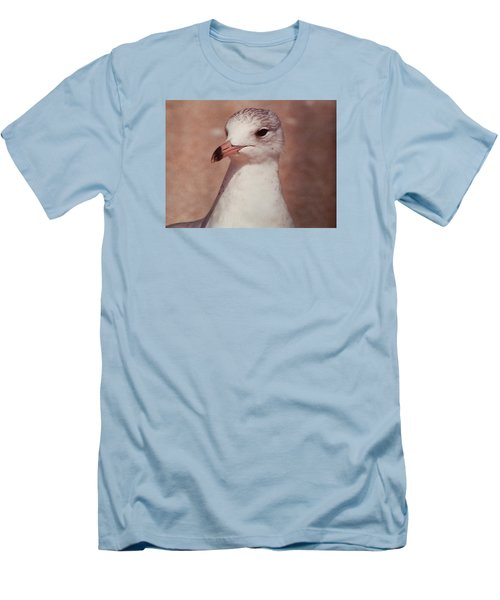Men's T-Shirt (Slim Fit) featuring the photograph Beach Gull On The Hunt by Belinda Lee