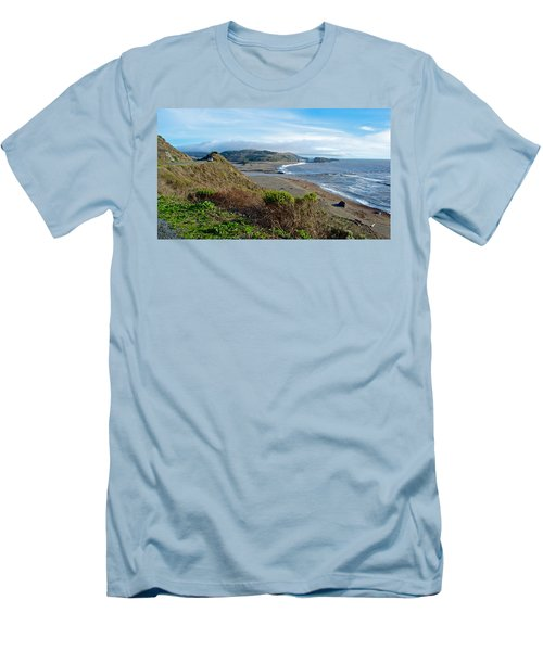 Highway 1 Near Outlet Of Russian River Into Pacific Ocean Near Jenner-ca  Men's T-Shirt (Athletic Fit)