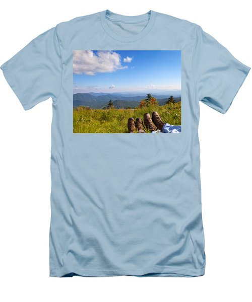 Hikers With A View On Round Bald Near Roan Mountain Men's T-Shirt (Slim Fit) by Melinda Fawver
