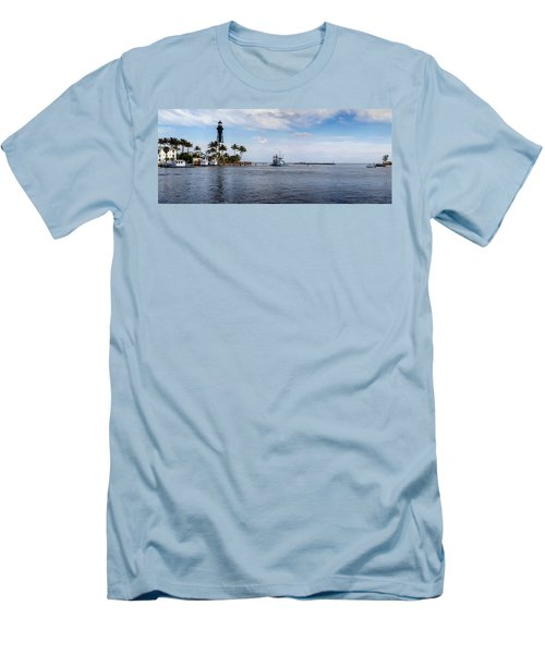 Hillsboro Inlet Lighthouse Panorama Men's T-Shirt (Slim Fit) by Lynn Palmer