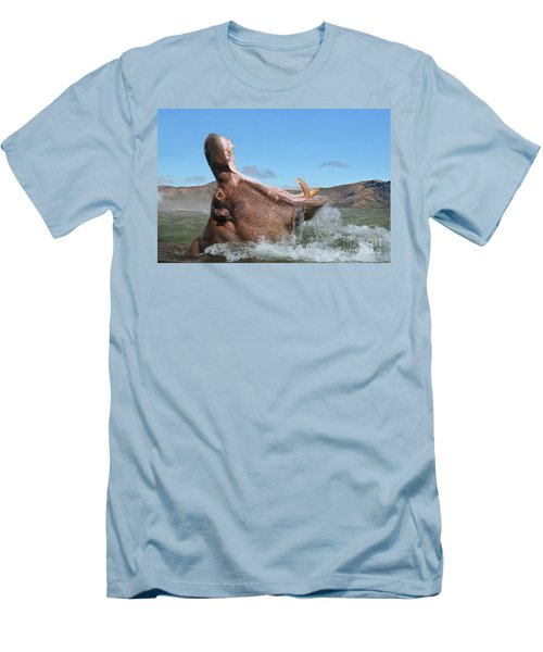 Hippopotamus Bursting Out Of The Water Men's T-Shirt (Athletic Fit)