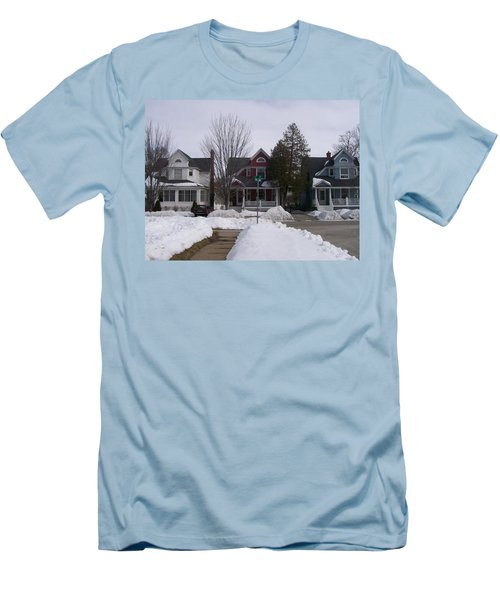 Men's T-Shirt (Slim Fit) featuring the photograph Historic Seventh Street Menominee by Jonathon Hansen