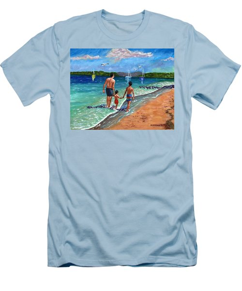Men's T-Shirt (Slim Fit) featuring the painting Holding Hands by Laura Forde