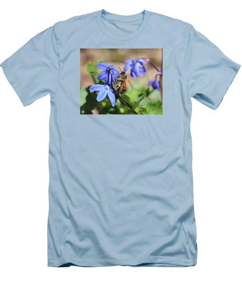 Honeybee On Siberian Squill Men's T-Shirt (Slim Fit) by Lucinda VanVleck