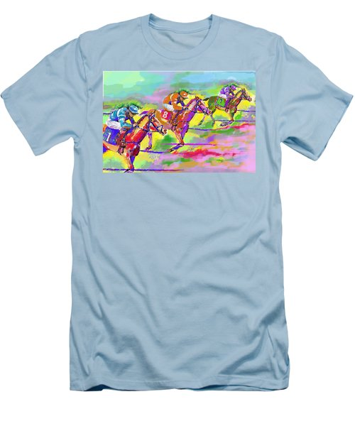 Men's T-Shirt (Slim Fit) featuring the digital art Horse Race  Three by Mary Armstrong