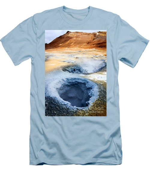 Men's T-Shirt (Slim Fit) featuring the photograph Hot Springs At Namaskard In Iceland by Peta Thames