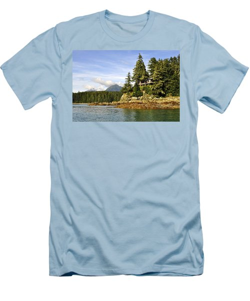 Men's T-Shirt (Slim Fit) featuring the photograph House Upon A Rock by Cathy Mahnke
