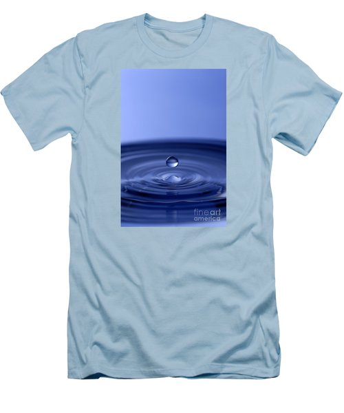 Hovering Blue Water Drop Men's T-Shirt (Slim Fit)