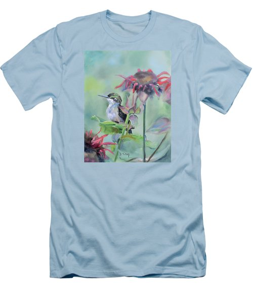 Hummingbird And Coneflowers Men's T-Shirt (Athletic Fit)