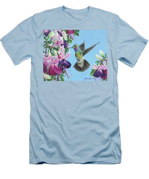 Hummingbird And Fuchsias Men's T-Shirt (Athletic Fit)