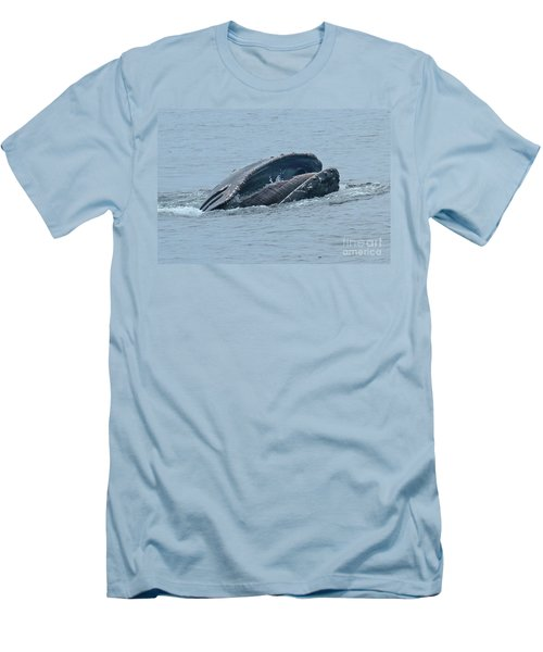 Men's T-Shirt (Slim Fit) featuring the photograph Humpback Whale  Lunge Feeding Monterey Bay 2013 by California Views Mr Pat Hathaway Archives