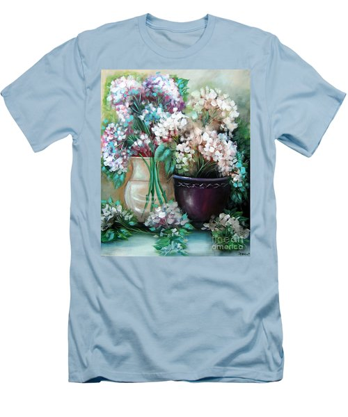 Men's T-Shirt (Slim Fit) featuring the painting Hydrangea Melody by Patrice Torrillo