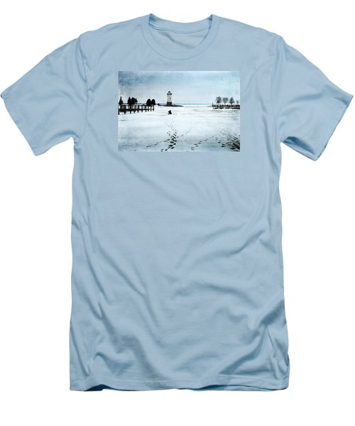 Men's T-Shirt (Slim Fit) featuring the photograph Ice Fishing Solitude 2 by Janice Adomeit