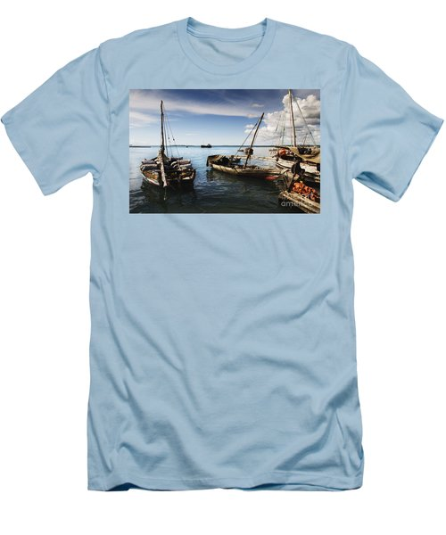 Men's T-Shirt (Slim Fit) featuring the photograph Indian Ocean Dhow At Stone Town Port by Amyn Nasser