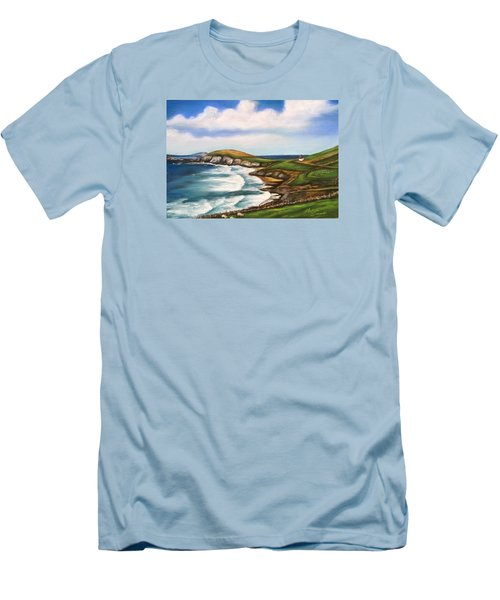 Dingle Peninsula Irish Coastline Men's T-Shirt (Slim Fit) by Melinda Saminski