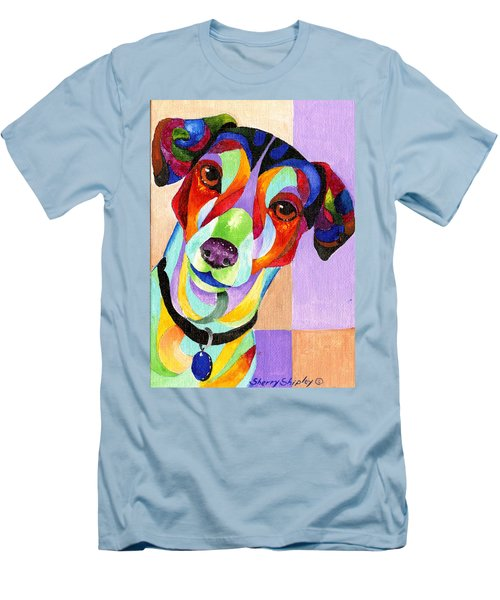 Jack Russell Terrier Men's T-Shirt (Slim Fit) by Sherry Shipley