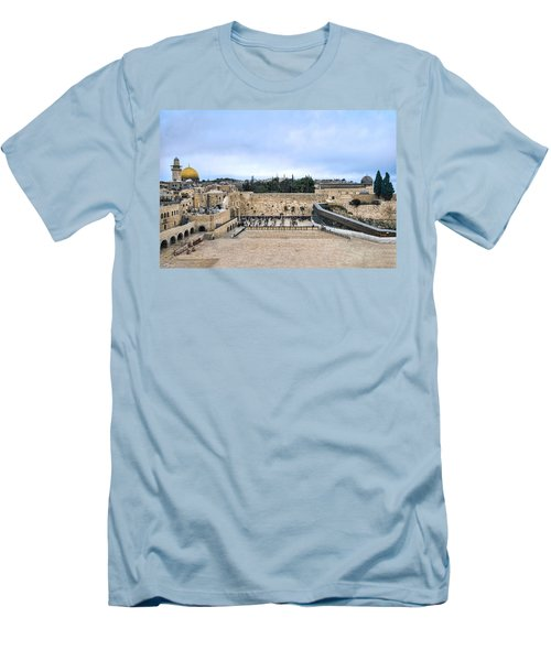 Men's T-Shirt (Athletic Fit) featuring the photograph Jerusalem The Western Wall by Ron Shoshani