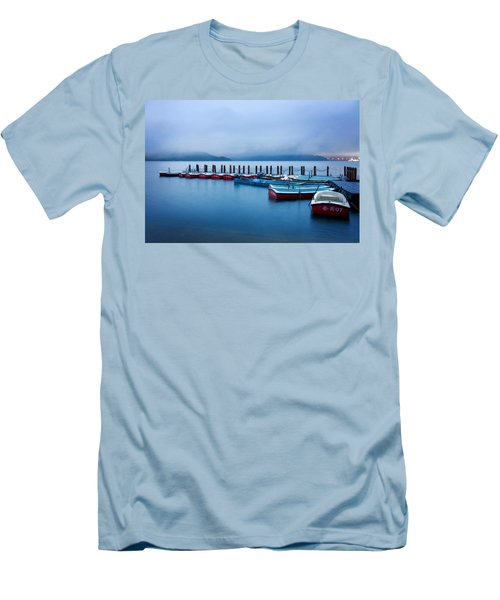 Men's T-Shirt (Slim Fit) featuring the photograph Jetty At Sun Moon Lake by Yew Kwang