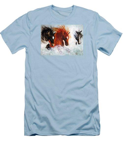Men's T-Shirt (Slim Fit) featuring the painting Joe Tj Apache by Barbie Batson