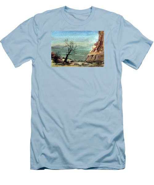 Men's T-Shirt (Slim Fit) featuring the painting Jordanian Valley by Mikhail Savchenko