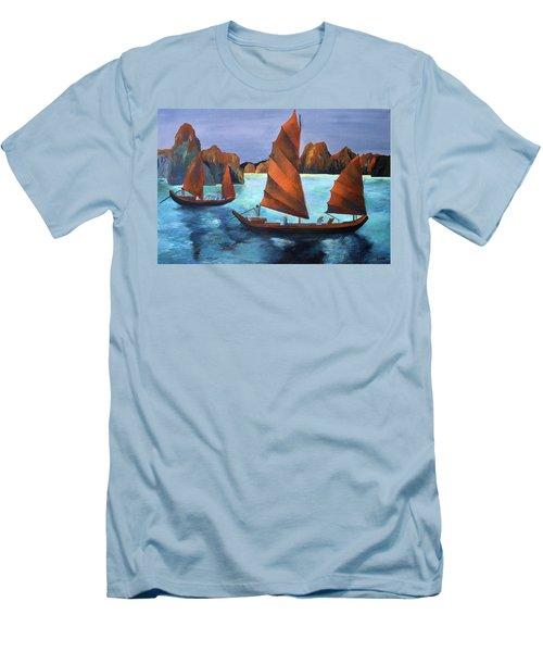 Men's T-Shirt (Slim Fit) featuring the painting Junks In The Descending Dragon Bay by Tracey Harrington-Simpson
