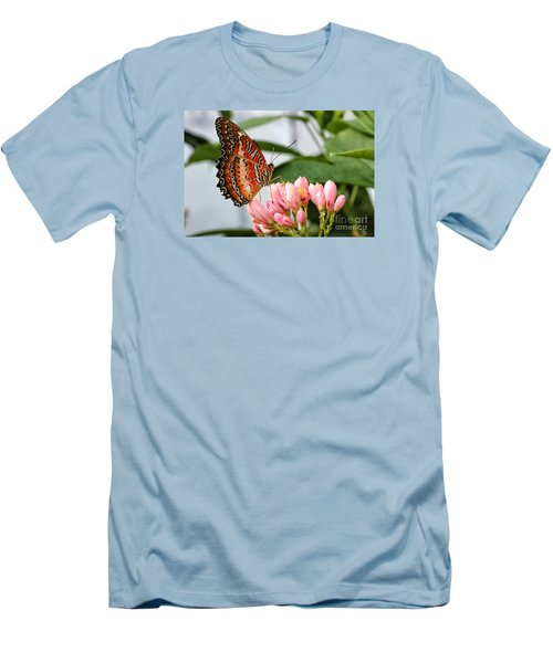 Just Pink Butterfly Men's T-Shirt (Slim Fit) by Shari Nees