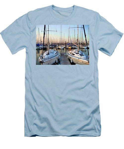 Kemah Boardwalk Marina Men's T-Shirt (Slim Fit) by Savannah Gibbs