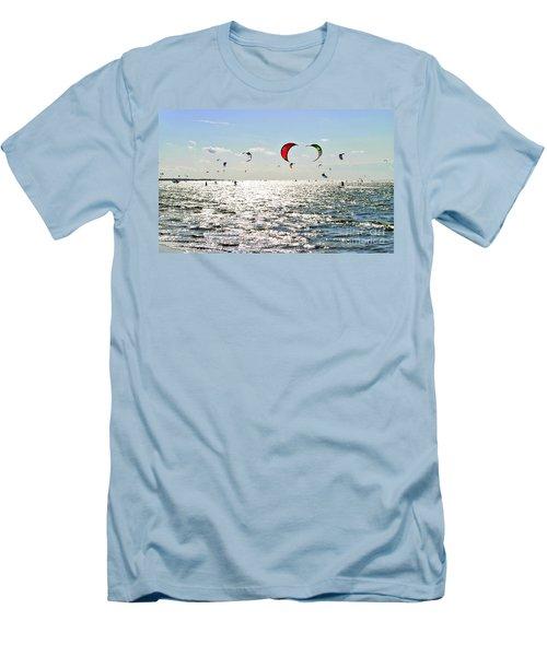 Kitesurfing In The Sun Men's T-Shirt (Slim Fit) by Maja Sokolowska