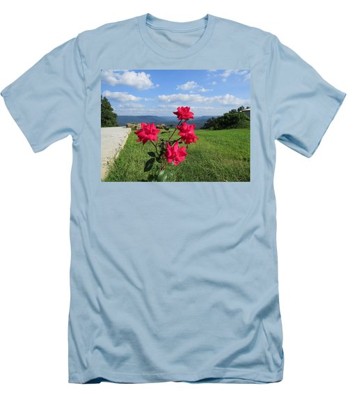 Knock Out Rose Men's T-Shirt (Slim Fit) by Aaron Martens