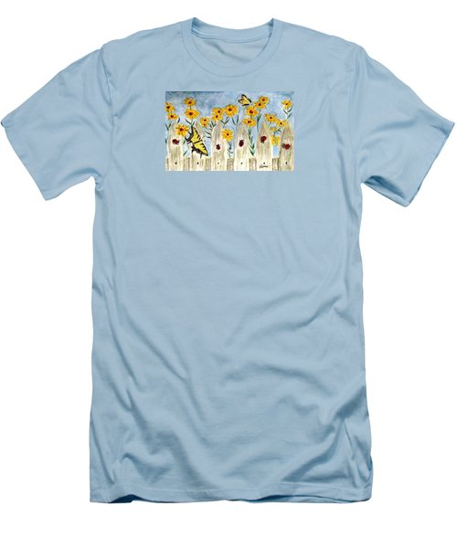 Men's T-Shirt (Slim Fit) featuring the painting Ladies In The Garden by Angela Davies