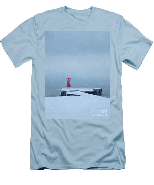 Lady In Red On Snowy Pier Men's T-Shirt (Athletic Fit)