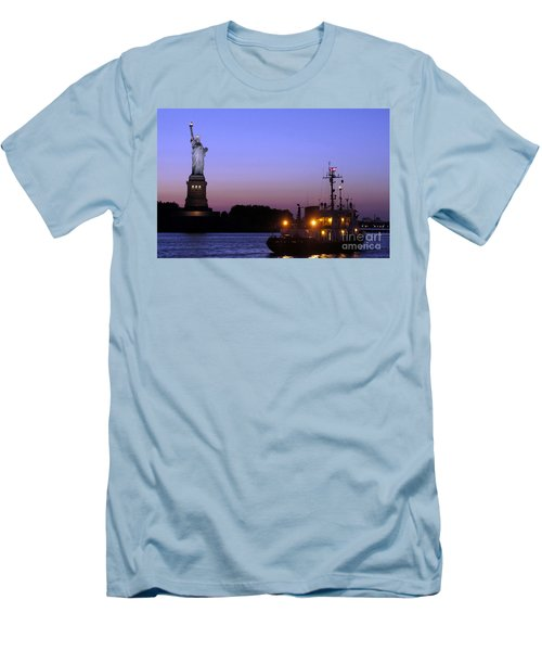 Men's T-Shirt (Slim Fit) featuring the photograph Lady Liberty At Dusk by Lilliana Mendez
