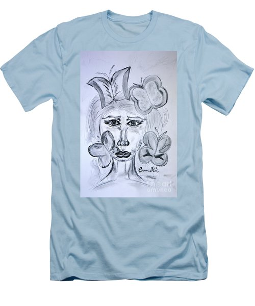Men's T-Shirt (Slim Fit) featuring the drawing Lady Queen Of Butterflies by Ramona Matei