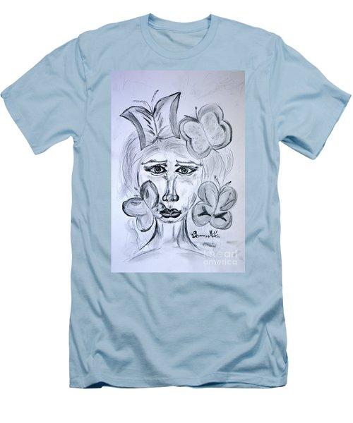 Lady Queen Of Butterflies Men's T-Shirt (Slim Fit) by Ramona Matei