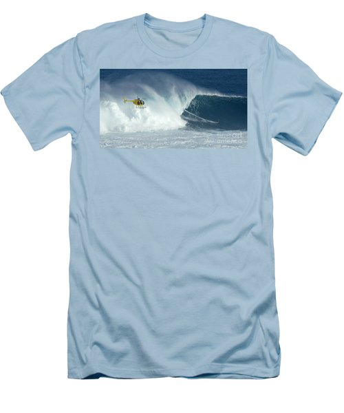 Laird Hamilton Going Left At Jaws Men's T-Shirt (Slim Fit) by Bob Christopher