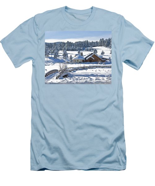 Lake House In Snow Men's T-Shirt (Slim Fit) by Ron White