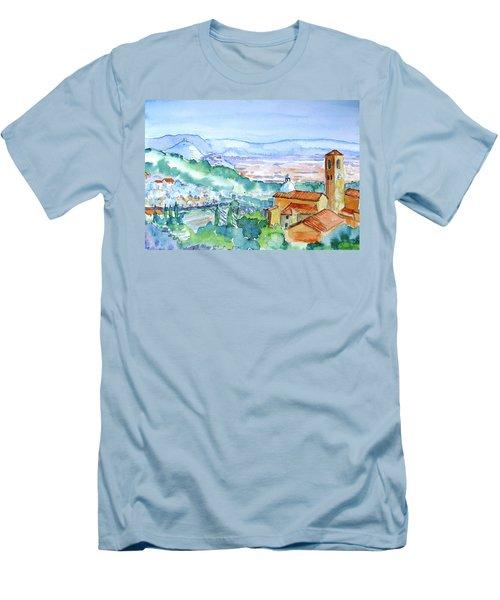 Tuscany Valley  Medieval Village Of Massa Men's T-Shirt (Slim Fit) by Trudi Doyle