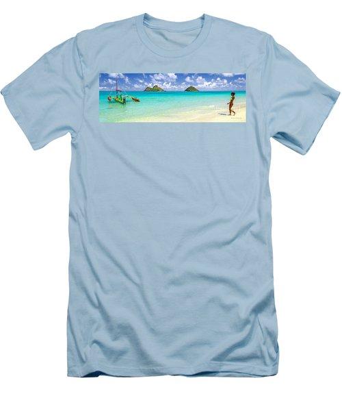 Lanikai Beach Paradise 3 To 1 Aspect Ratio Men's T-Shirt (Slim Fit) by Aloha Art