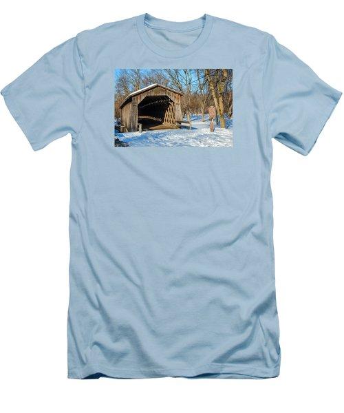 Last Covered Bridge Men's T-Shirt (Slim Fit) by Susan  McMenamin