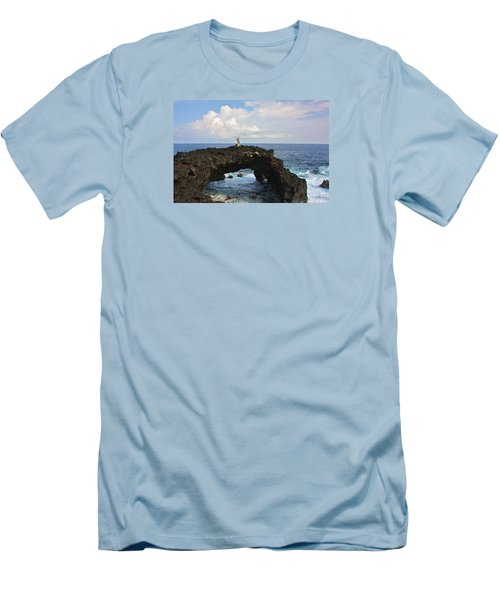 Lava Sea Arch In Hawaii Men's T-Shirt (Slim Fit) by Venetia Featherstone-Witty