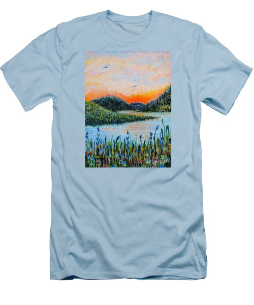Men's T-Shirt (Slim Fit) featuring the painting Lazy River by Holly Carmichael