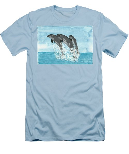 Men's T-Shirt (Slim Fit) featuring the painting Leaping Dolphins by Tracey Williams